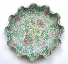 19th Century Chinese Yixing Enamel Scalloped Lotus Plate