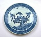 18C Chinese Blue & White Porcelain Charger Plate Flower Bamboo Eagle
