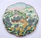 Chinese Culture Revolution Cloisonne Enamel Plate Mountain Scene