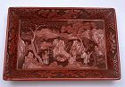 Old Chinese Deep Carved Cinnabar Lacquer Tray Plate Figurine